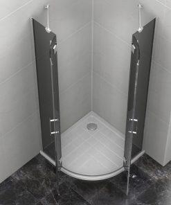 Duschkabine 80x80x190 cm mit Duschtasse 8 mm Glas PALITRA NERO  (Viertelkreis)