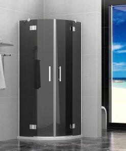 Duschkabine 80x80x190cm ohne Duschtasse 8 mm Glas PALITRA NERO  (Viertelkreis)