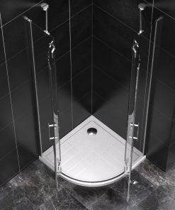 Duschkabine 80x80x190 cm mit Duschtasse 8 mm Glas PALITRA (Viertelkreis)
